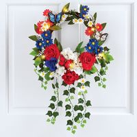 Lighted Patriotic Mixed Floral Wreath Decoration by Decorshop $16.95