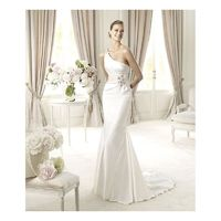 Sexy Trumpet/Mermaid One Shoulder Beading Sweep/Brush Train Stretch Satin Wedding Dresses - Dressesular.com
