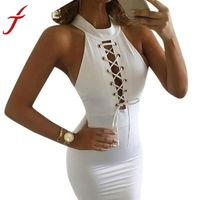 Women Sexy Bandage Dress Turtleneck Bodycon Sleeveless Cocktail Midi Length Celebrity Club Party Pencil White Dress Drop Ship $15.78