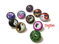 Pack of 20 Round Yin and Yang Glass Snap Buttons. 18mm Clothing Fasteners £8.79