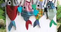 Along with my Fish friend - Drawstring backpack for children- Nursery - Made to order by LaGagiandra on Etsy