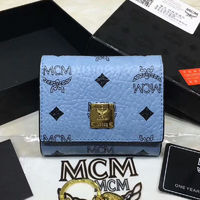 MCM Heritage Visetos Trifold Leather Short Wallet In Washed Blue