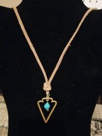 Golden and Turquoise Drop Arrowhead Pendant Necklace $15.00