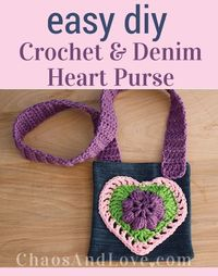 Tutorial for an easy tween-sized purse with a super fun crochet heart applique.