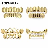 TOPGRILLZ Pure Gold Color Plated HIP HOP Teeth Grillz Top & Bottom Grill Set With silicone Vampire Teeth ship from US $22.98