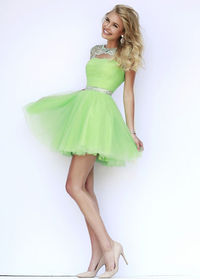 2015 Green Silver Cap Sleeves Beaded Ruched Homecoming Dress