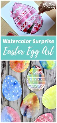There are two watercolor techniques that can be used to create watercolor surprise Easter Egg art for kids using our FREE Easter Egg printable template. Invite