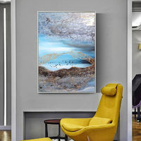 Abstract acrylic painting on canvas Original drawing oil Painting Wall Art Pictures for living room modern abstract Blue Gold wall decor $89.00