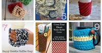 Hugs for Mugs (and Cups...and Bottles): Roundup of 15 free crochet patterns on Underground Crafter | Mug hugs and bottle and cup cozies are great stashbusters and they double as wonderful last minute gifts and embellishments. Find your next projec...