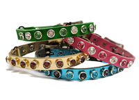 Leather Cat Safety Collars with Bell, Fancy, Breakaway | Swarovski Crystals Bling | Safety Stretch Leather Cat Collars $28.00