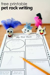 Decorate pet rocks. Then use this creative pet rock writing sheet and your imagination to share details about your pet rock's life.