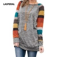 LASPERAL 2018 Spring Autumn Tee Shirt Women Long Sleeve O Neck Striped Patchwrork T-Shirt Casual Loose Soft Warm Slim Tee Tops $29.54