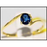 Solitaire Blue Sapphire 14K Yellow Gold Natural Gemstone Ring [RR056]