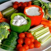 Such a smart idea on how to serve dip on a veggie platter.
