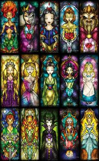 DEF WANT A STAIN GLASS TATTOO... DISNEY ... EEEEHHH NOT SO MUCH