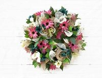 White Roses Pink and Blue Daisy Burlap Mesh Wreath, Spring Time Wreath, Summer Wall Decor, Everyday Wreath $96.30