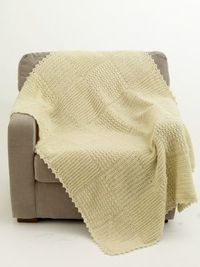 """Sampler Afghan, free pattern from Lion Brand ~ 40"""" x 54""""; four 8-oz. skeins fisherman's wool bulky (1860 yds), hook size P. Very easy patterns for three different squares, which are joined & bordered. . . . . �ƒ�Trish W ~ ht..."""