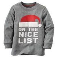 With the stockings all hung and ornaments in place, he's ready for Santa in this soft cotton tee!