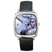 Elf, Fairy and Unicorn on a Girls or Womens Silver Square Watch with Leather Bands $32.00