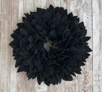 Black Felt Wreath - Great for Indoor or Outdoor (covered) Use. $59.99