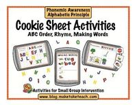 Cookie Sheet Activities Vol. 1- ABC Order, Rhyme and CVC words. Great for small group instruction or literacy centers. $3.50
