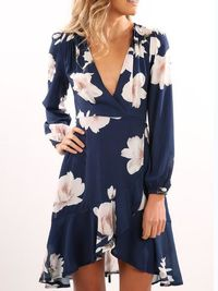 Easy Street Floral Deep V Neck Mini Dress $31.59