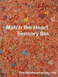 Love this sensory bin activity for Valentine's day, match the heart Sensory Bin | http://theresjustonemommy.com/