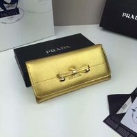 Prada 1M1132 Bow Saffiano Leather Wallet In Gold