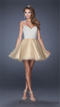 La Femme 20033 Beaded Strapless Short Nude Prom Dresses
