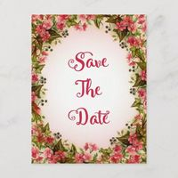 Pretty Floral Frame Save The Date Announcement Postcard
