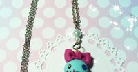 Kawaii Polymer Clay Necklace, Scrump Jewelry, Scrump Necklace, Lilo and Stitch, Ugly Dolls, Polymer Clay Charms, on Etsy, $15.00