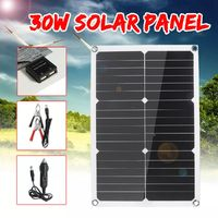 20W 18V 28cmX42cm Monocrystalline Silicon Solar Panel with Dual USB Output + Car Charger + Battery Clip
