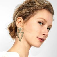 New Geometric Triangle Alloy Drop Earrings 3 Color Golden Silver Rose Gold Simple Dangle Earring Female Wedding Jewelry $2.58