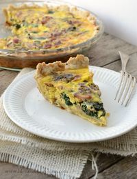 Lightened Up Spinach Bacon Quiche full of flavor light on calories perfect for Brinner.