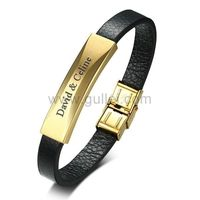 Gullei.com Personalized Love Leather Bracelet for Men Stainless Steel Gold