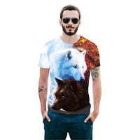 Two Wolves Short Sleeve Summer 3D T-shirt Print $19.29