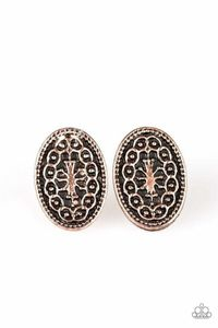 Paparazzi Just A Flicker - Ornate Embossed Oval Copper Frame Earrings $5.00