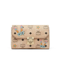 MCM Millie Star Eyed Bunny Visetos Flap Crossbody In Beige