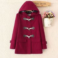 Horn Button Long Sleeves Hooded Thick Fashion Coat $42.99