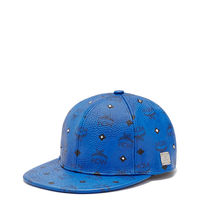 MCM Gold Visetos Studs Cap In Blue