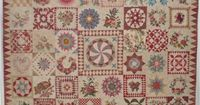 """The Morrell Quilt,This stunning quilt was reproduced by Di Ford, author of Primarily Patchwork, from an original by Sarah Morrell in the 1840s. It measures 86"""" x 86"""" with the sixty blocks, stitched by hand or machine, are Broiderie Perse, appliq..."""