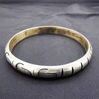 Sterling Silver Modernist Bangle Bracelet Two tone Silver & Black, Signed 925 Mexico TH-120 Vintage Pre 1960s 1970s Mexican Silver $145.00