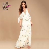Sexy Sweet Open Back Attractive Printed Floral Summer Enchanting Dress - Bonny YZOZO Boutique Store