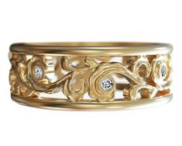 7mm Yellow Gold Filigree Flower Ring with 8 Diamonds, Gift for 8th Anniversary $930.00