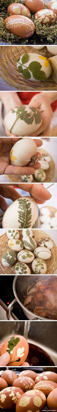 Natural Leafy Easter Eggs