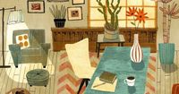 Richard Faust Colorful Interior Illustration