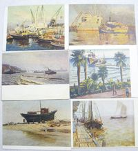 Vintage Postcards Set 6 Soviet Art Painting Marine Sea Ships Realism 50's $11.00