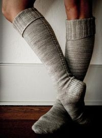 Little Cable Knee Highs   The Purl Bee This yarn for this pattern is in the mail and on its way to my house. I can't wait! I am beyond excited to start this project and wear knee and thigh high socks with boots this fall.