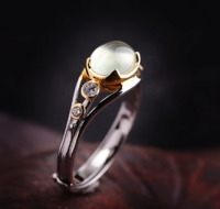SILVER NATURAL PREHNITE HANDMADE CRAFT RING $47.99