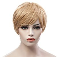 �Ÿ˜�Trendy Fluffy Side Bang Elegant Charming Short Straight Human Hair Women's Capless Wig�Ÿ˜� $23.18